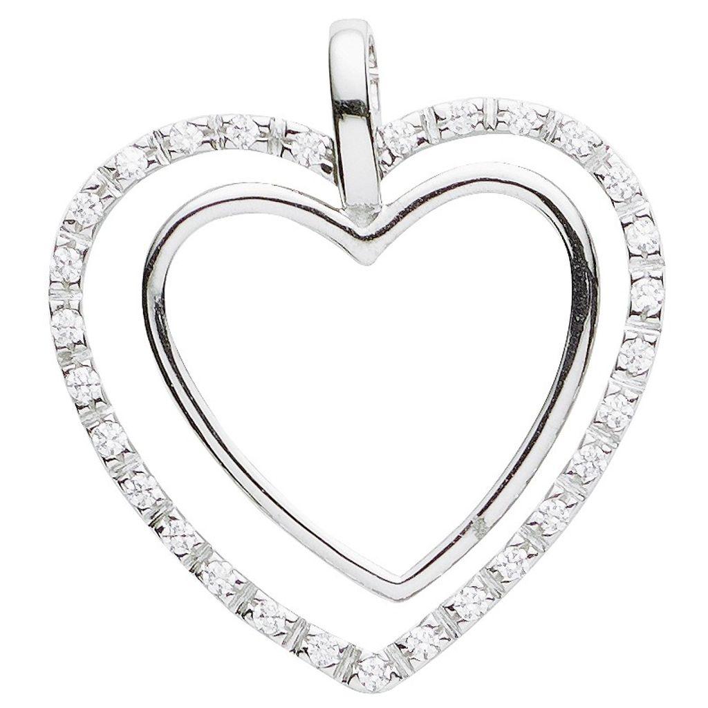Basic Silber 21.0009S Damen Anhänger Herz Silber Zirkonia weiß