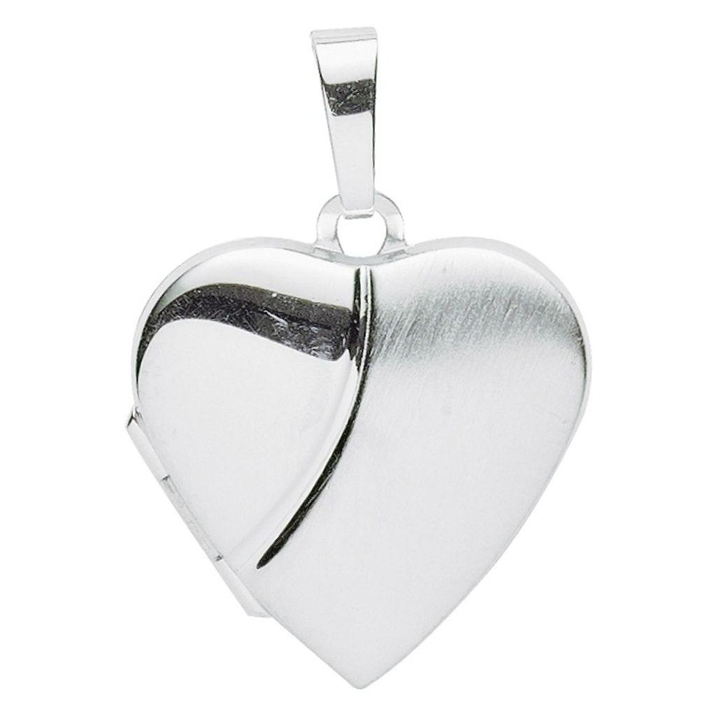 Basic Silber 26.0112 Damen Anhänger Herz Medaillon Silber