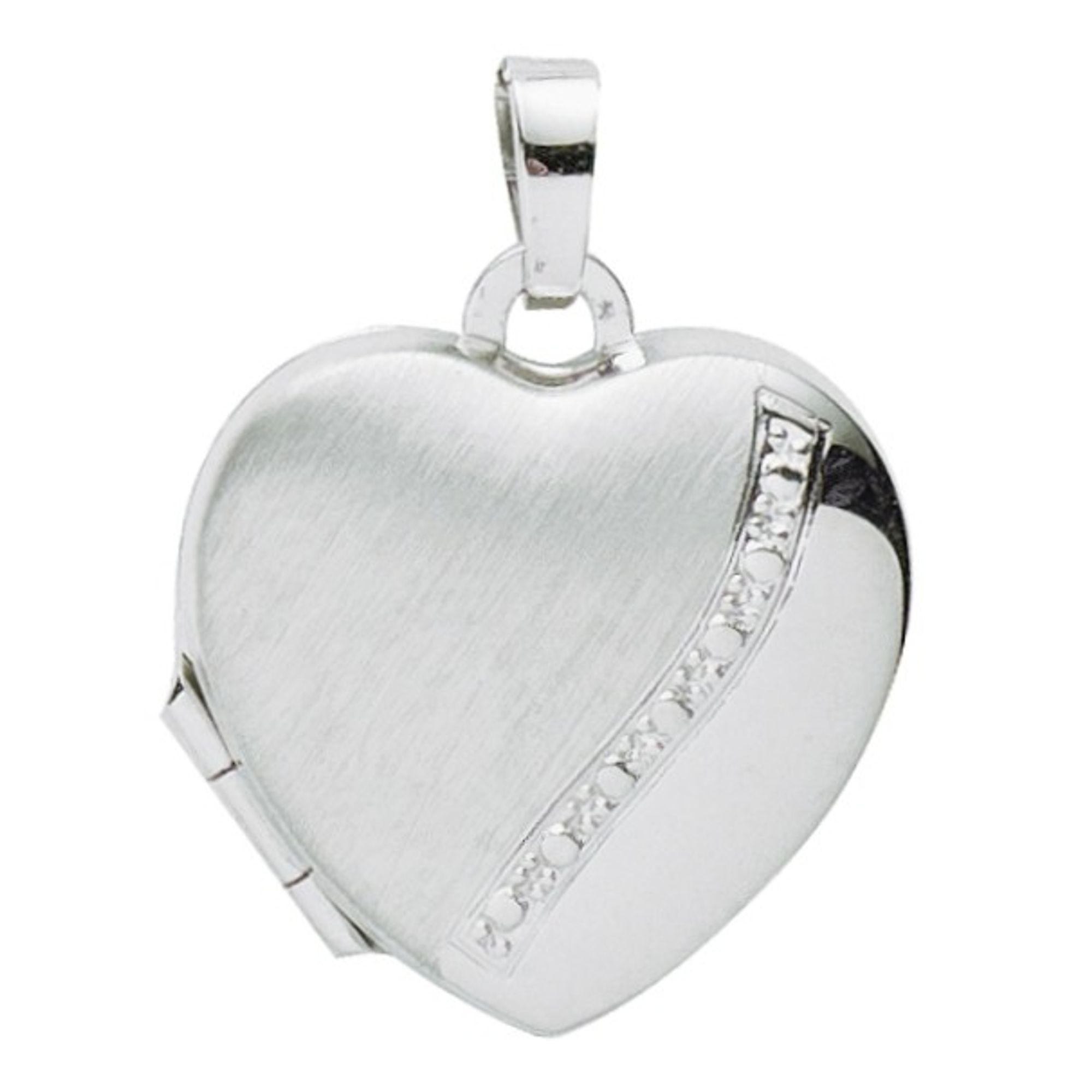 Basic Silber 26.0113 Damen Anhänger Herz Medaillon Silber Zirkonia