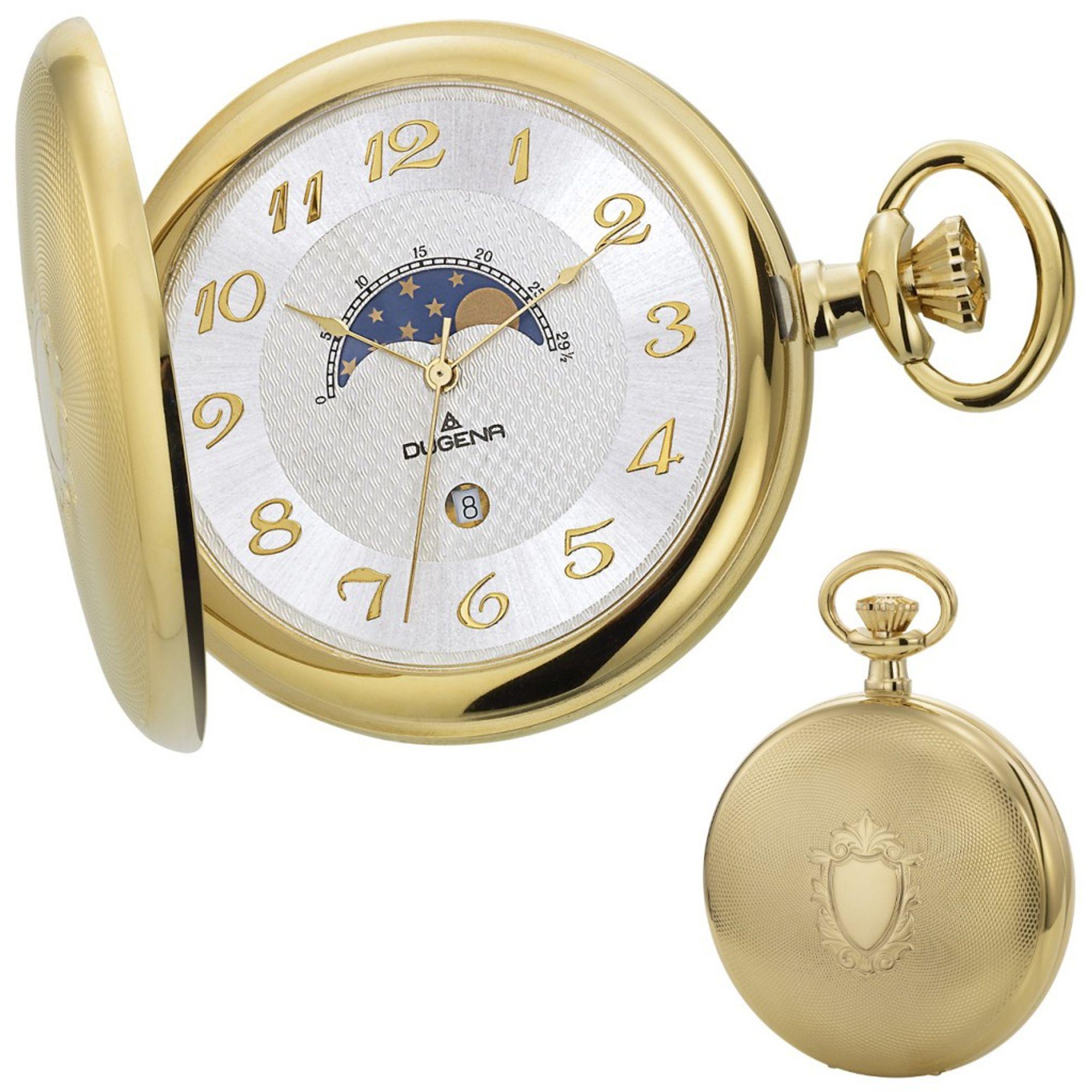 DUGENA 4460306 Taschenuhr Savonette mit Kette Uhr Herrenuhr gold