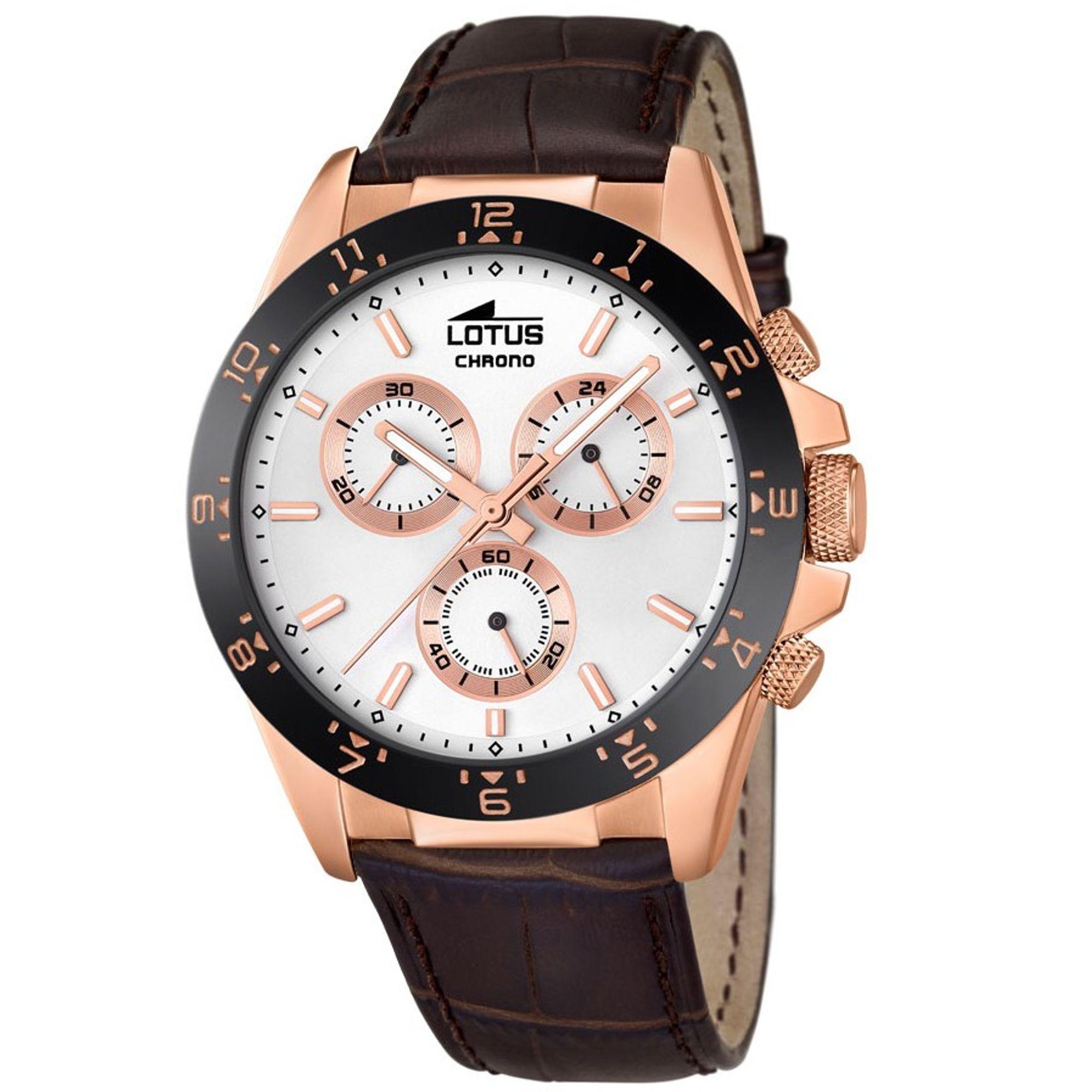 LOTUS BELFORT Chronograph Uhr Herrenuhr Lederarmband braun rosé