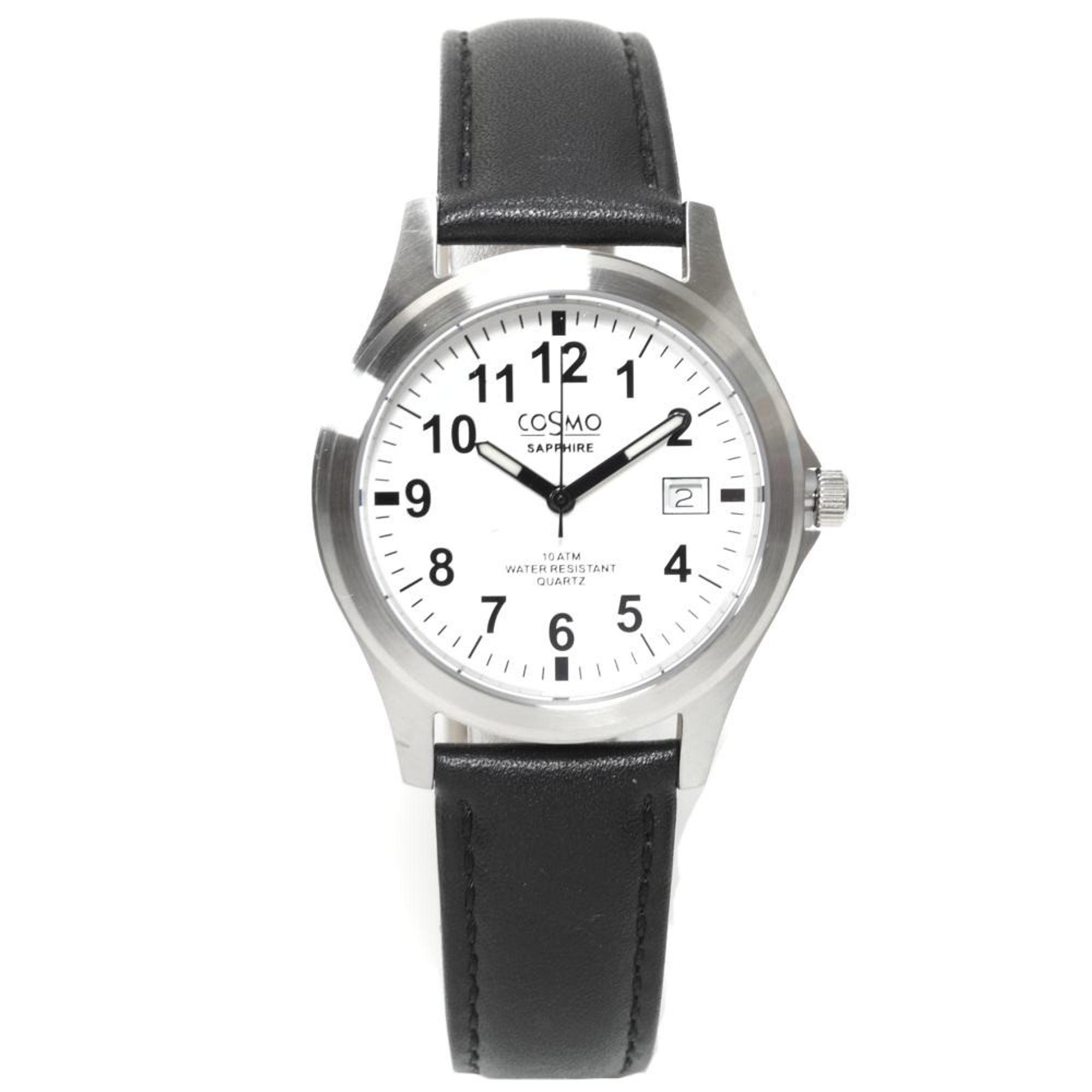 Cosmo 033004RLB-weiß-1 Uhr Herrenuhr Lederarmband Datum schwarz