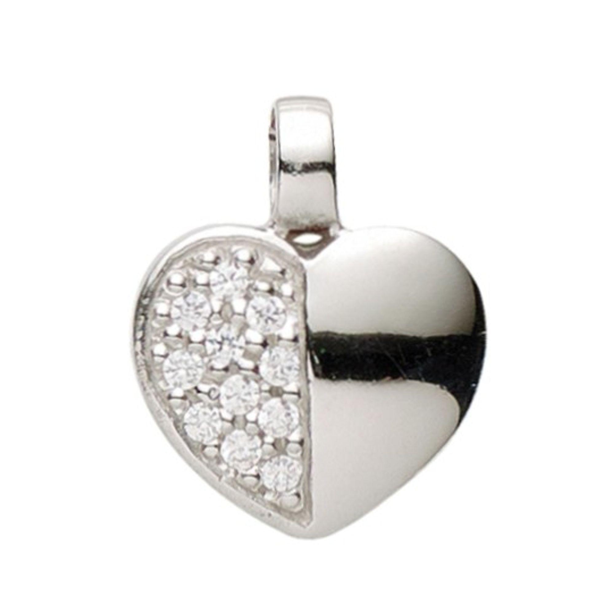 Basic Silber 21.1126S Damen Anhänger Herz Silber Zirkonia weiß