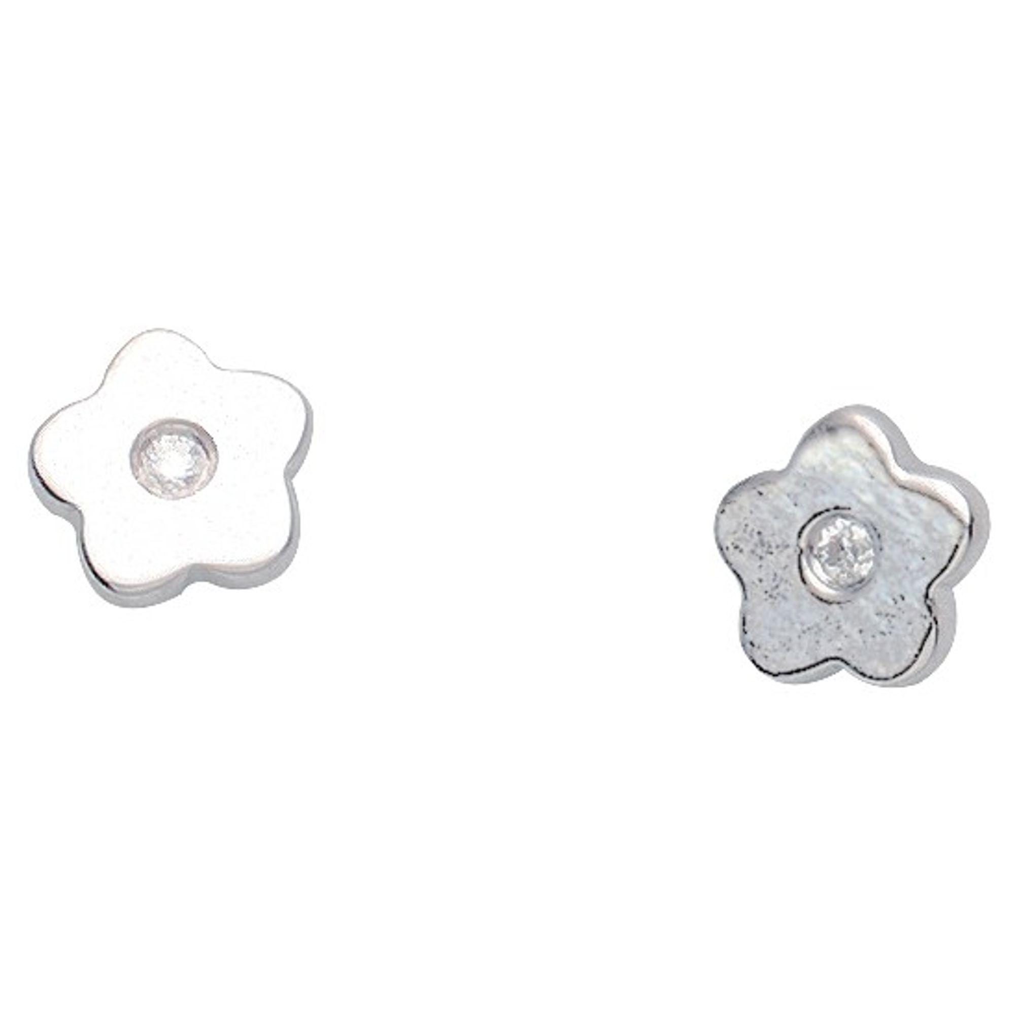 Basic Silber 01.KS131 Mädchen Ohrstecker Blume Silber Zirkonia weiß