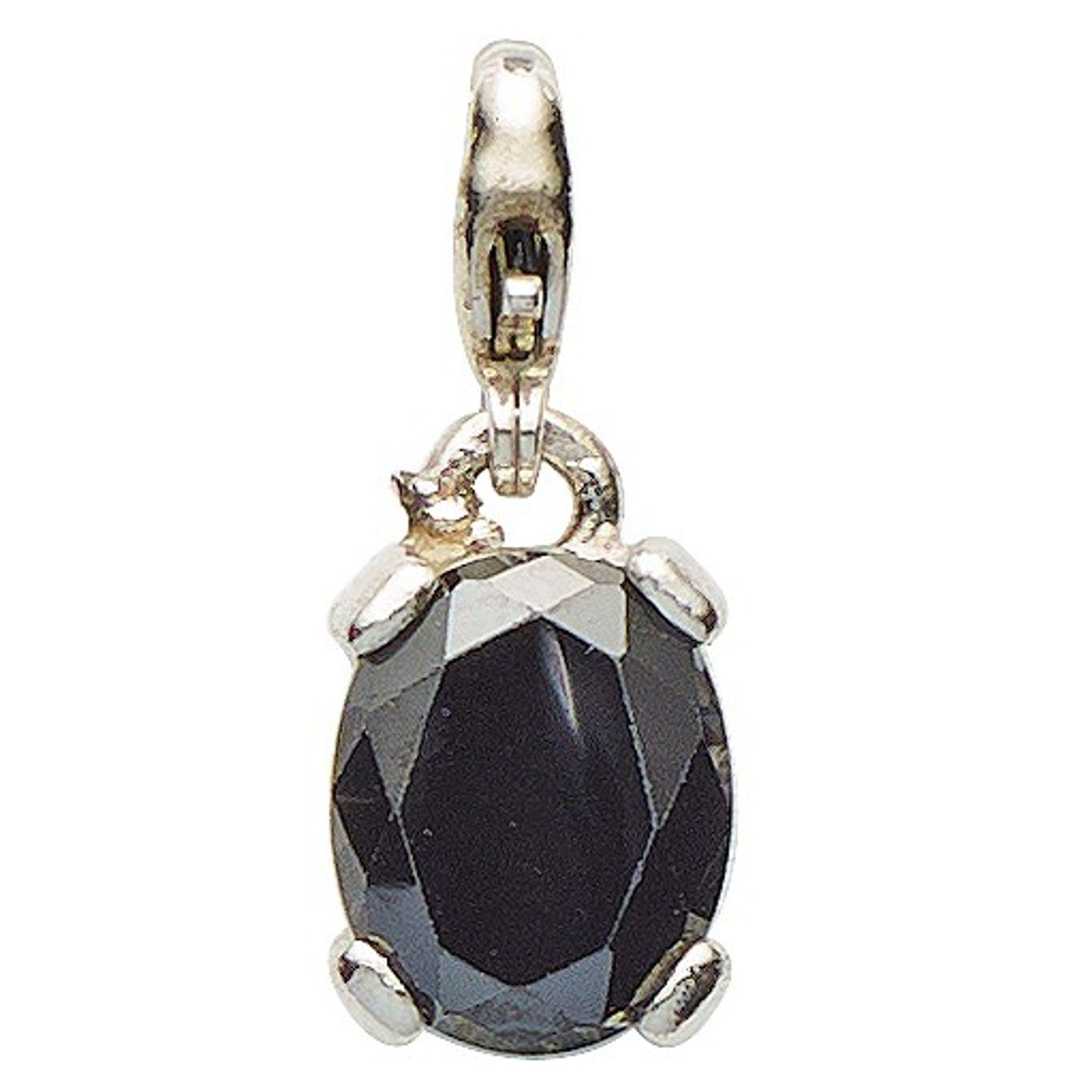Basic Silber 22.VX116.S Damen Charms Silber Zirkonia schwarz