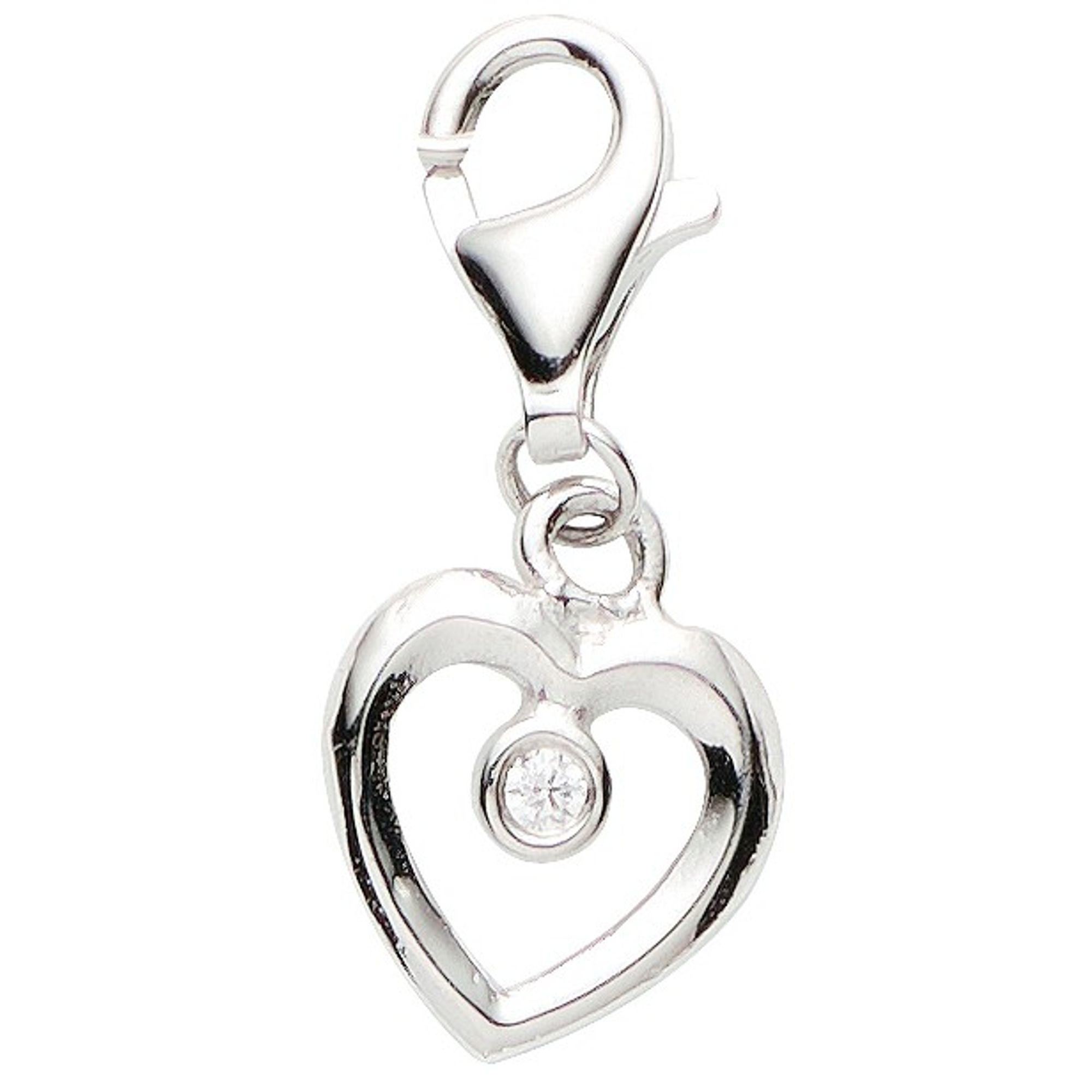 Basic Silber 22.VX345 Damen Charms Herz Silber Zirkonia weiß