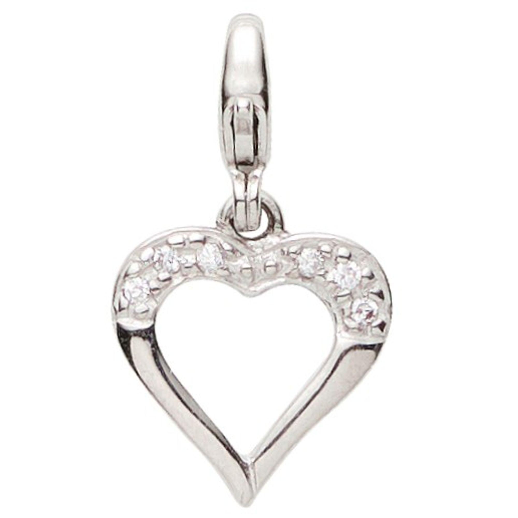Basic Silber 22.VX433 Damen Charms Herz Silber Zirkonia weiß