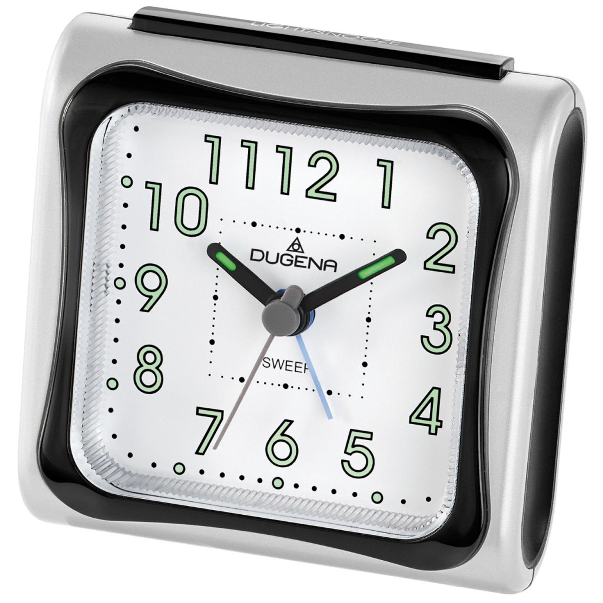 DUGENA 4460619 Wecker Kunststoff Analog Licht Alarm silber