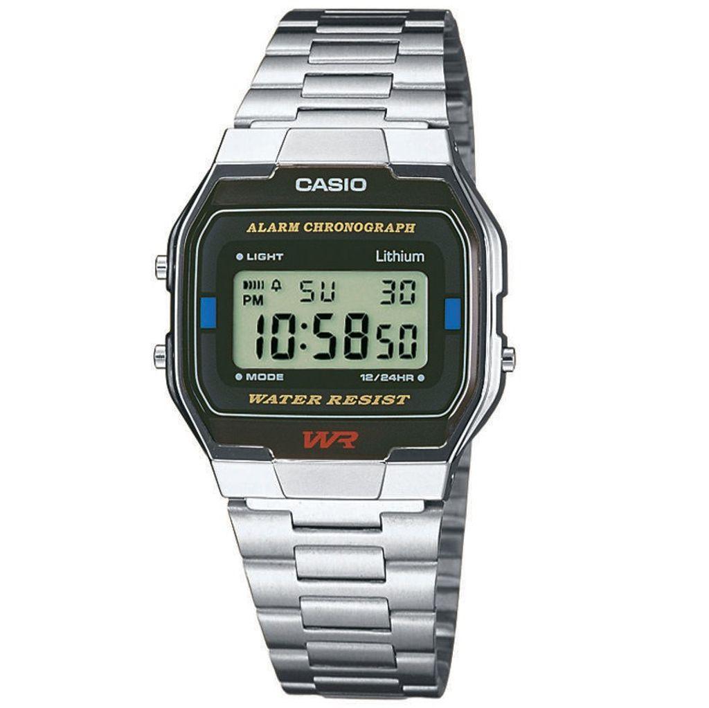 CASIO A163WA-1QES Uhr Herrenuhr Edelstahl Datum Digital schwarz