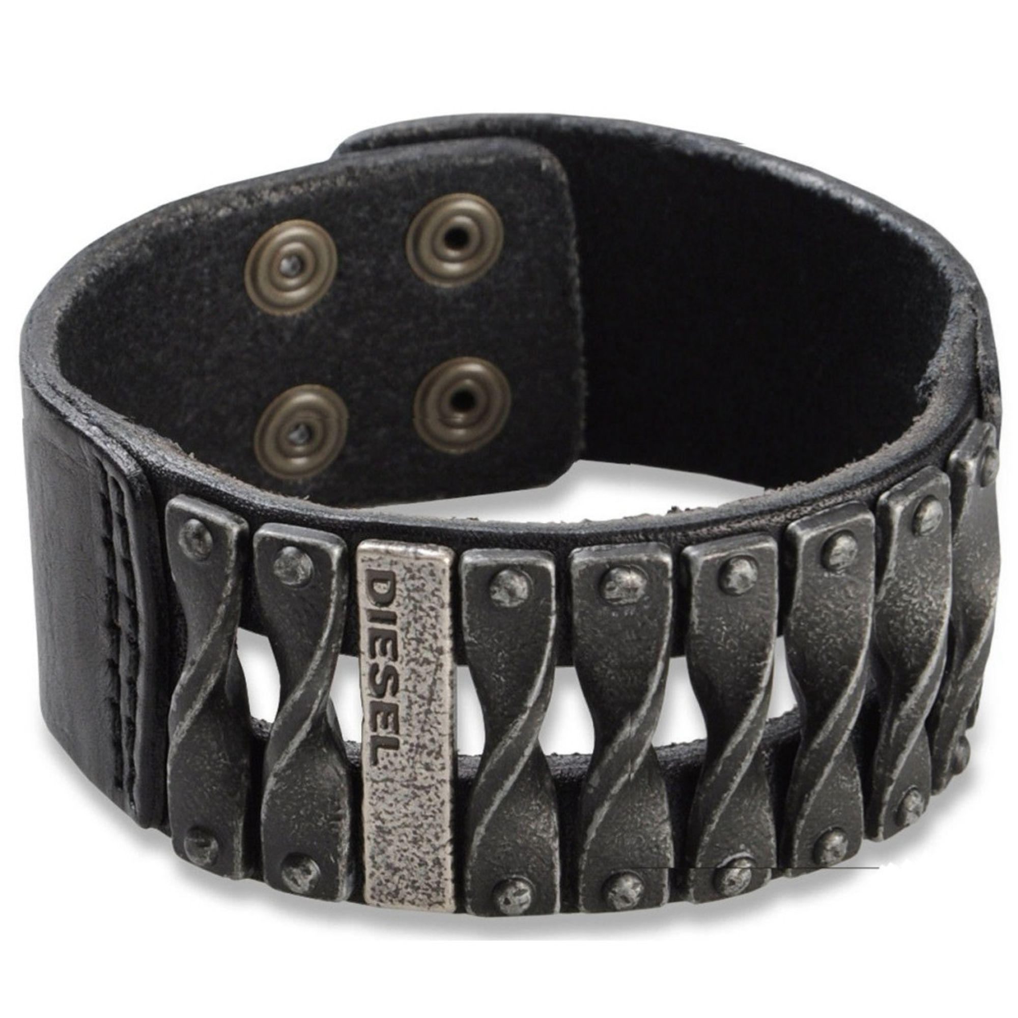 Diesel Herren Armband Leder Schwarz 22 cm