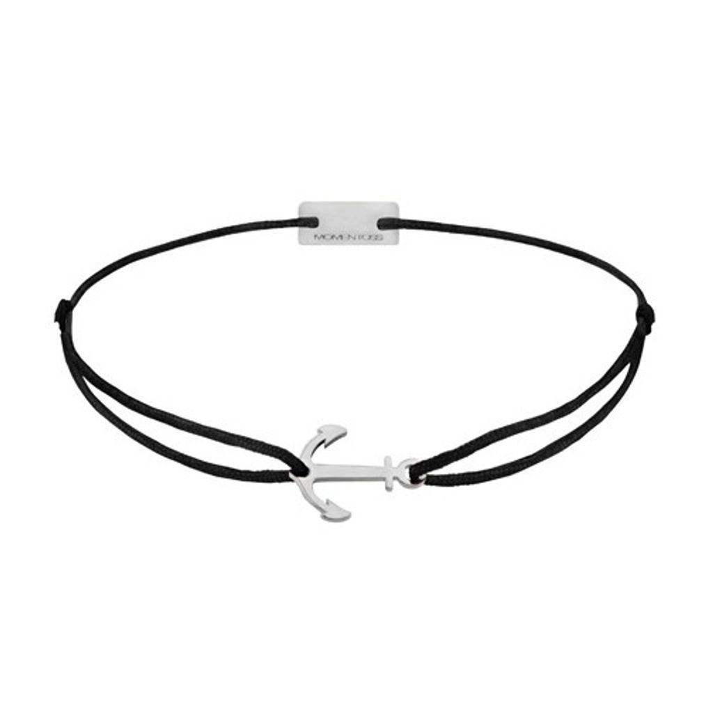 MOMENTOSS 21200191 Silber Armband Filo Anker schwarz 19 cm