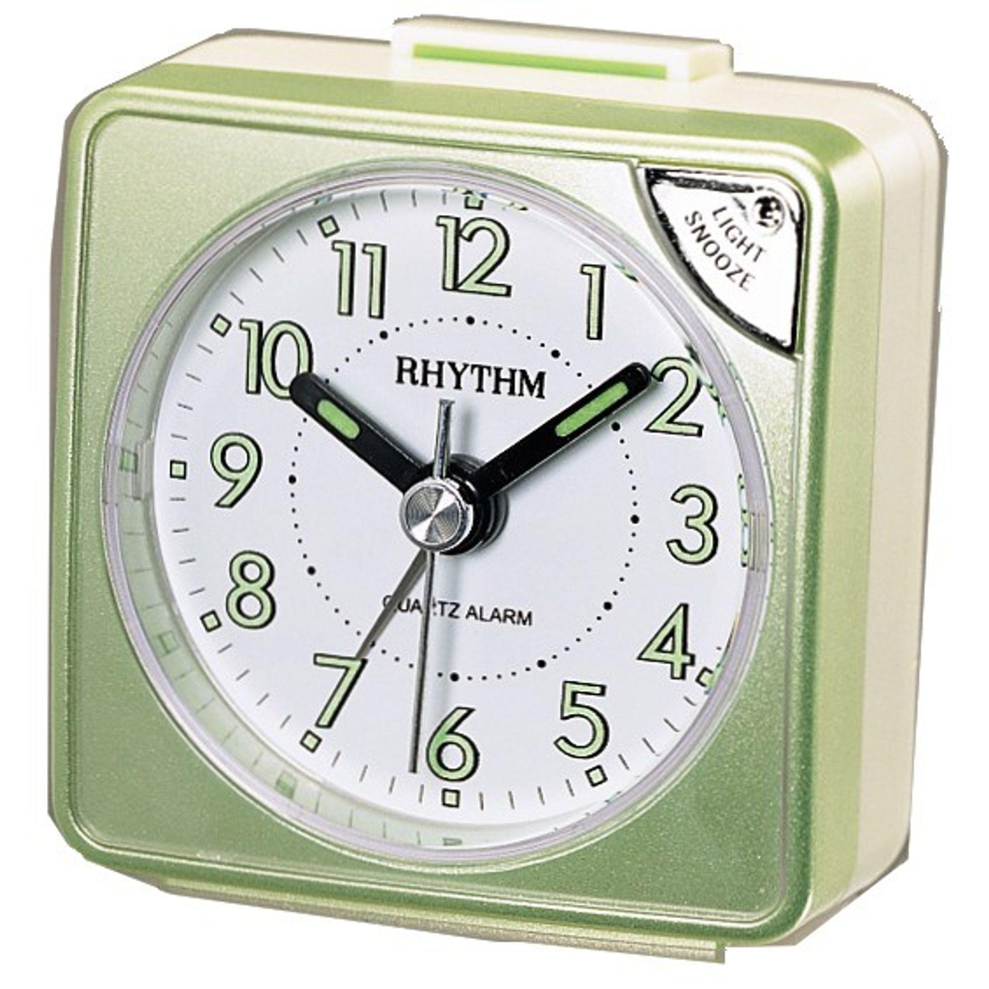 rhythm cre211nr05 wecker alarm wei gr n marken bersicht. Black Bedroom Furniture Sets. Home Design Ideas