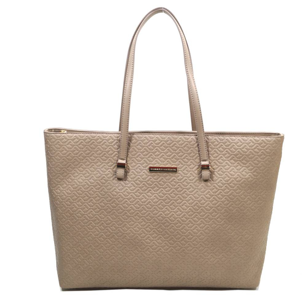 tommy hilfiger th emboss tote beige handtasche tasche shopper. Black Bedroom Furniture Sets. Home Design Ideas
