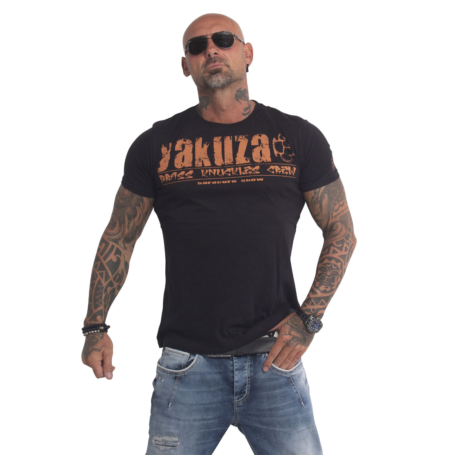Yakuza, Brass Knuckles Crew T-Shirt, TSB503 BLACK M