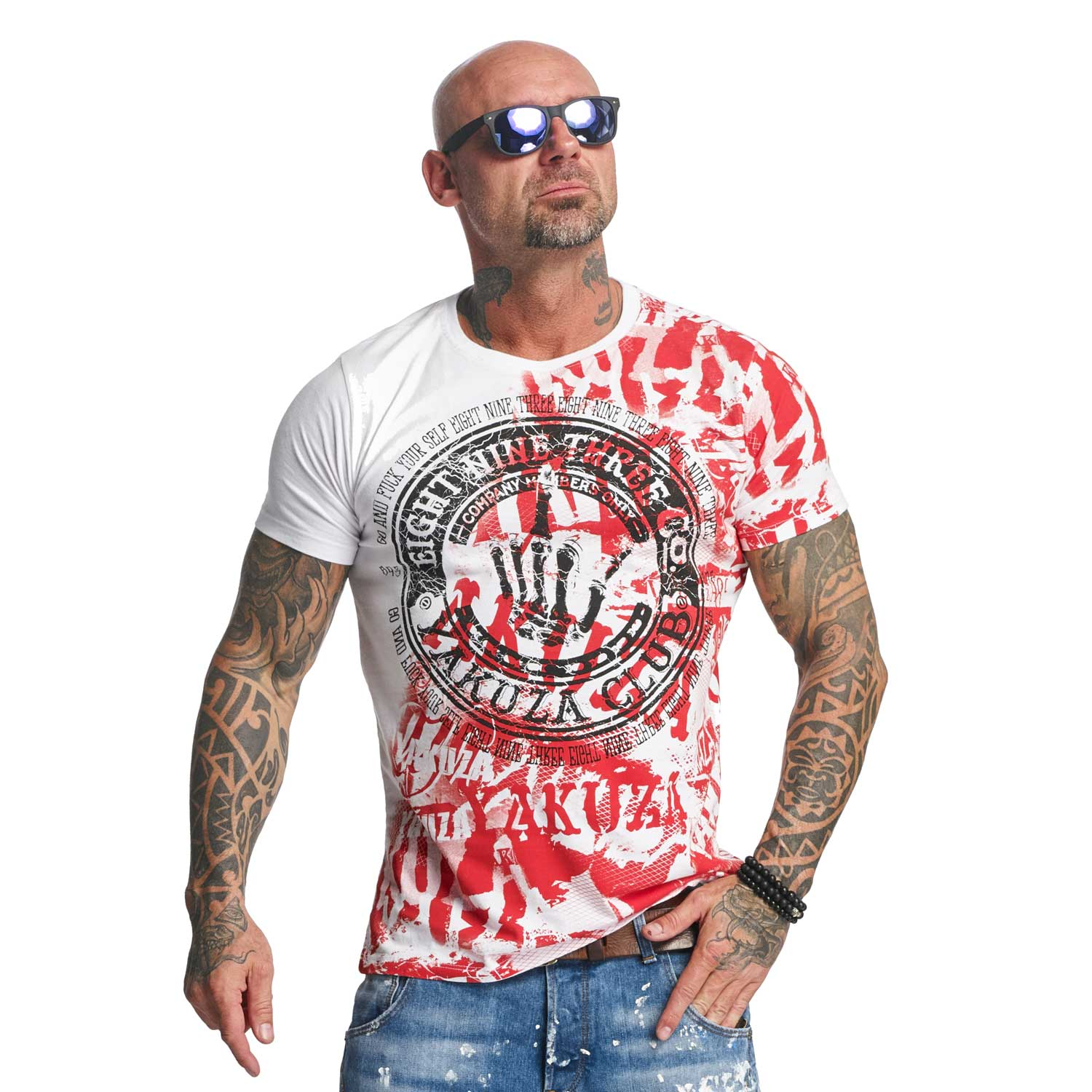 Yakuza, Yakuza Club T-Shirt, TSB9021 WHITE 3XL
