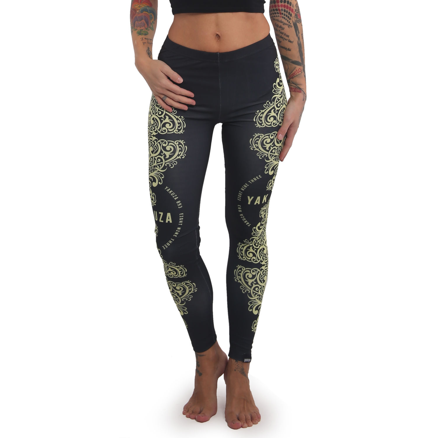 Yakuza, Ornamentic Leggings, LEB14126 BLK XXS