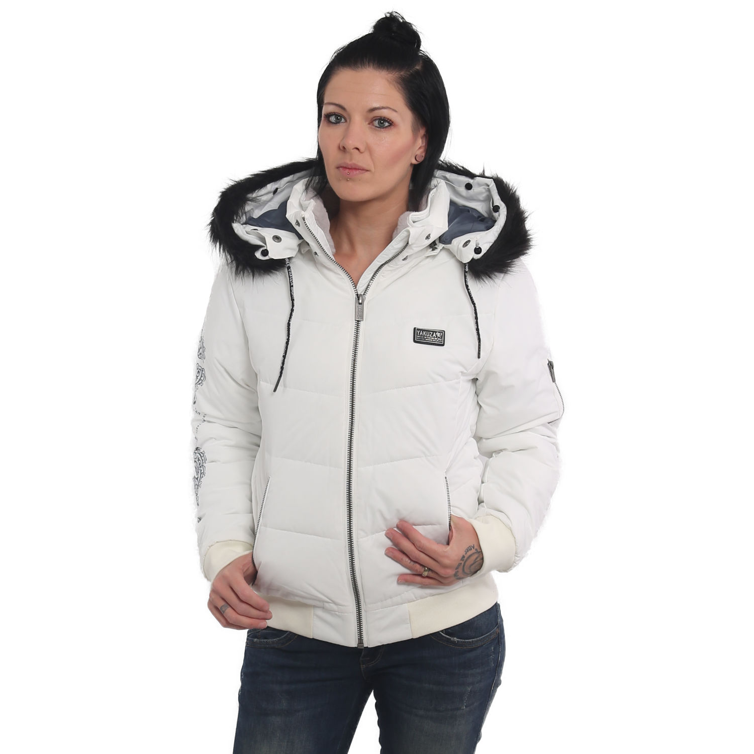 Yakuza, Ornamentic Winter Bomber Jacket, GJB14118 WHT XS