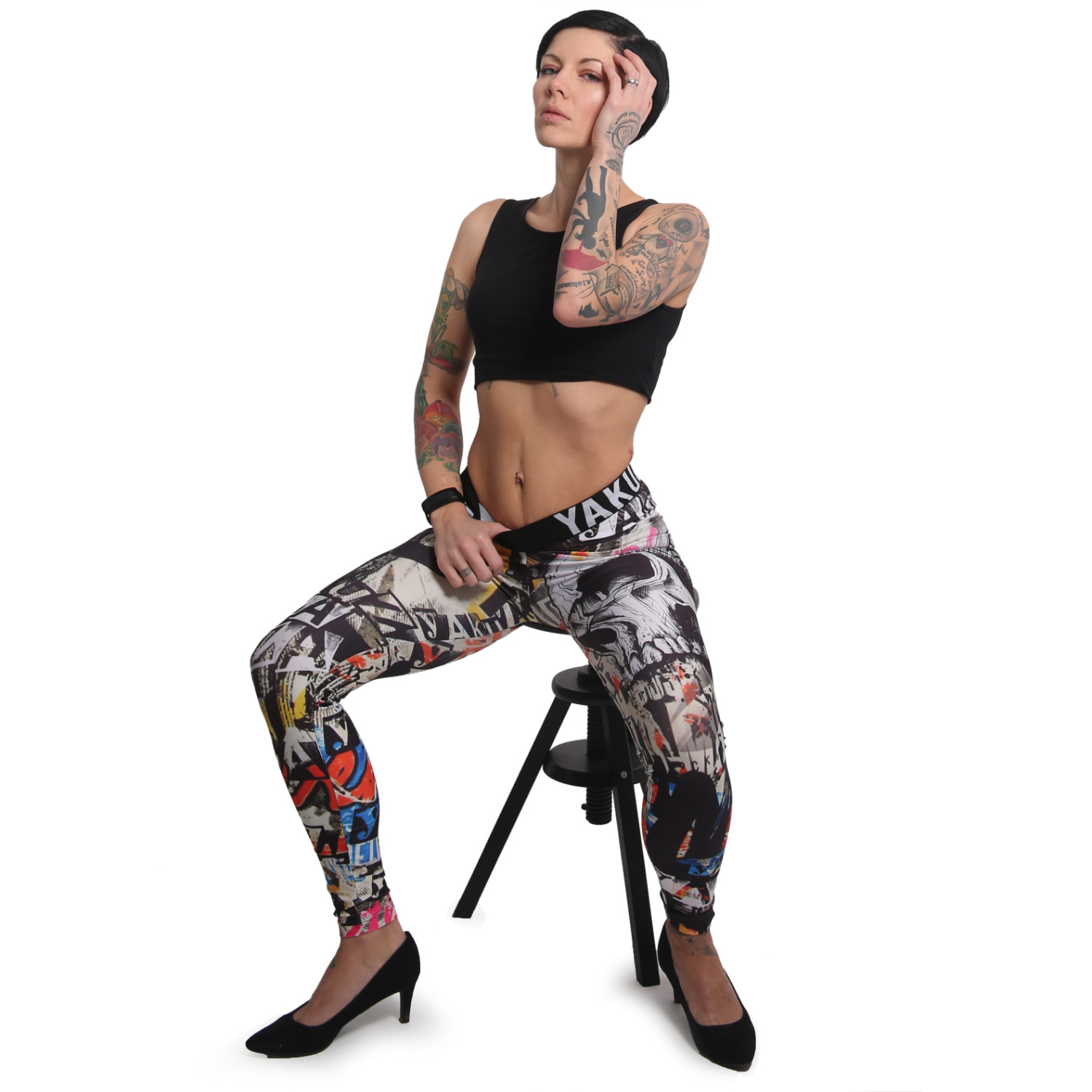 Yakuza, Sick Allover Leggings, LEB16107 MLTCLR S