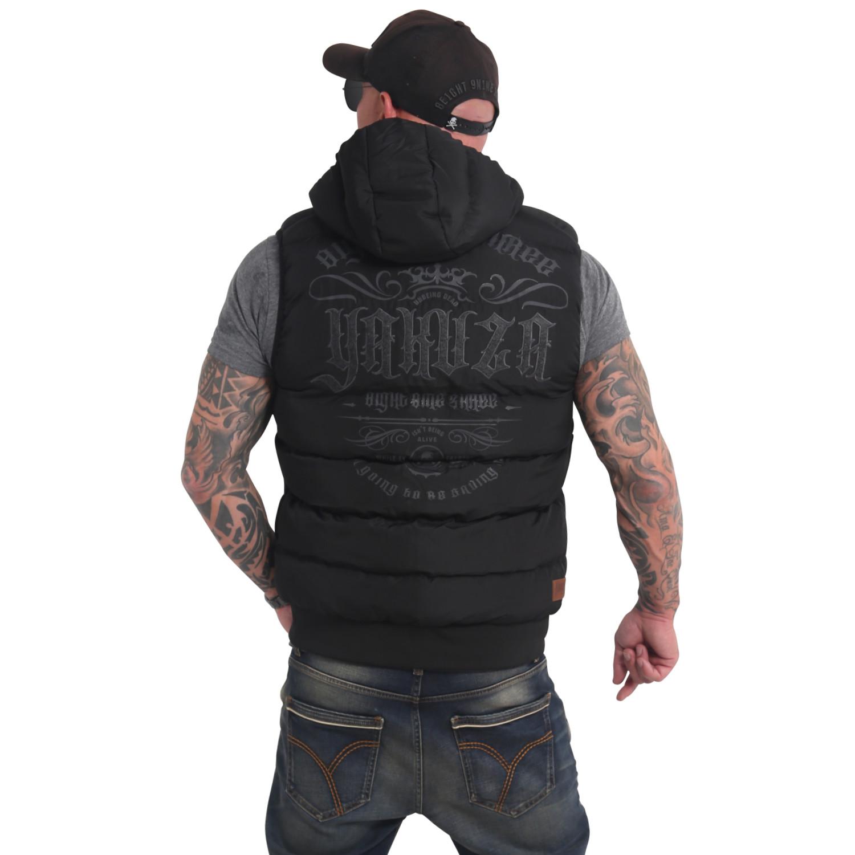 Yakuza, Felt Logo Quilted Hooded Vest, VB16053 BLK M