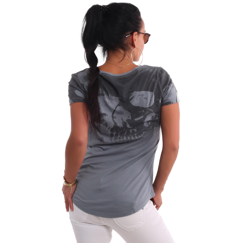 Gradient Skull Dye V Neck T-Shirt