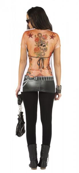 016bcd87e3c8a 3D T-Shirt Biker - Karneval Foto-Print Tattoo Shirt – Bild 2