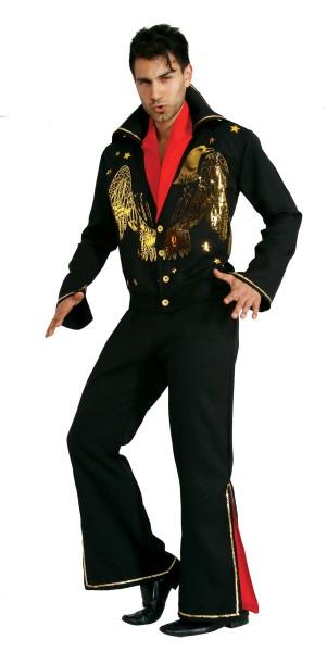 Elvis Kostüm schwarz, Karnevalskostüm Rockstar Elvis