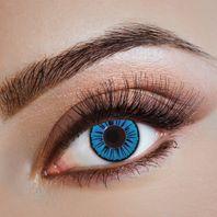 Blaue Kontaktlinsen, Strahlen-Motiv schwarz, Fun Linsen – Bild 2