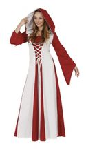 Mittelalter Kleid rot-weiß, Kapuzenkleid Kostüm Fantasy
