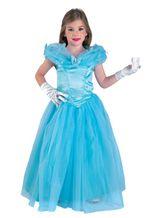 Kinder Kostüm wie Cinderella, lang, Prinzessin Kostüm blau  – Bild 4