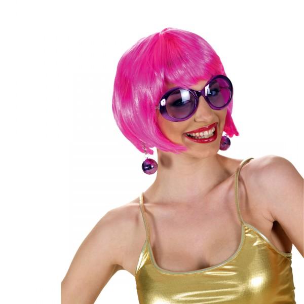Disco Partybrille mit Discoballohrringe