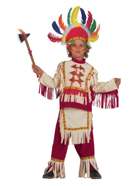 Kinderkostüm Indianer Häuptling mit Feder-Kopfschmuck
