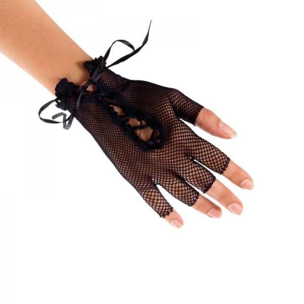 Fingerlose Netzandschuhe mit Schnürung 15cm lang