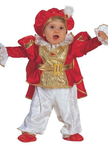 Baby Kostüm König rot-gold – Baby Kostüm Prinz mit Hut