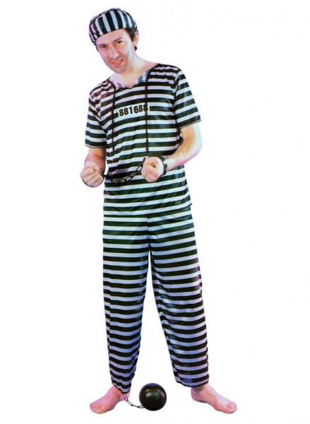 Sträflingskostüm - gestreiftes Kostüm als Gefangener