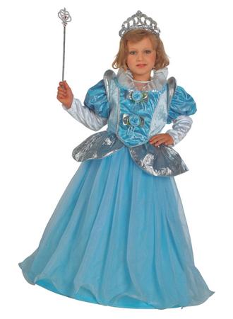 Kinderkostüm Prinzessin, Prinzessin Kostüm blau & Krone