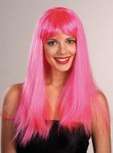 Glamourperücke Langhaarperücke Neonperücke pink