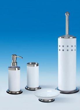 Bad Accessoires Set Nele weiß 4tlg.WC-Bürste Seifenspender Zahnputzbecher Seifenschale von Sanwood