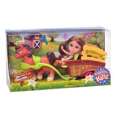 Country Kinz Harvest Hayride Set mit Puppe Pferd und Kutsche – Bild 1