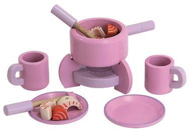 Fondue Set aus Holz für Spielküche pink mit Zubehör von Mentari