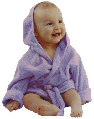 Baby  Bademantel mit Kapuze Gürtel und Knopf lila weiches Frottee