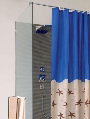 Duschvorhang Karibik blau/jasmin BxH 180x200cm