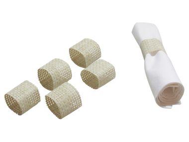 APS Serviettenringe, 6 er Set Ø 4,5 cm, H: 4,5 cm PVC, Schmalband Farbe: beige – Bild 1