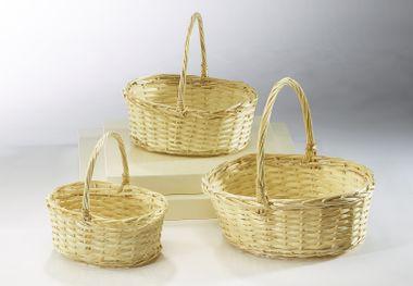 Geschenkkorb mit Henkel oval 3er Set Weide/Span S/3 – Bild 2
