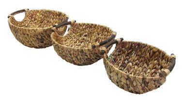 Deko Schale Wasserhyazinthe mit braunen Holzgriffen  – Bild 3