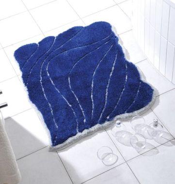 Badematte Badteppich Badgarnitur Badematte Yasmin-blau/silber (80x100cm)