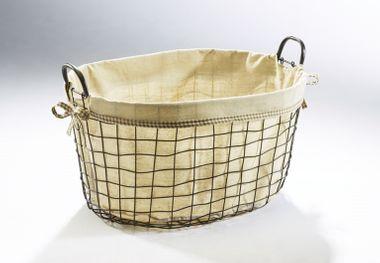 Dekokorb oval aus Metall mit Textil