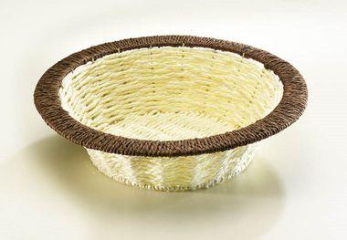 Deko-Schale rund natur mit braunem Rand Bast  – Bild 1