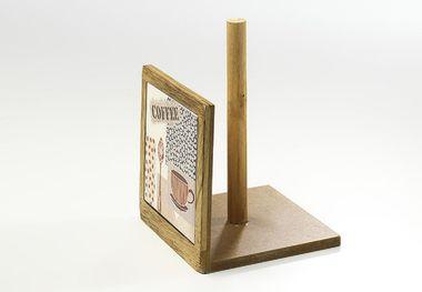 Küchenrollenhalter aus Holz und Keramik mit Kaffeedekor