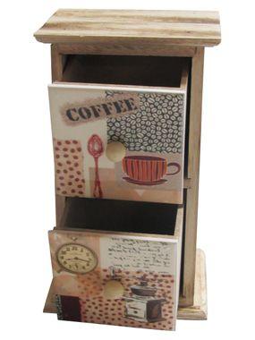 Schränkchen aus Holz und Keramik braun Kaffeedekor – Bild 2