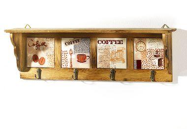 Wandregal Holz/Keramik 4 Haken braun Kaffeedekor